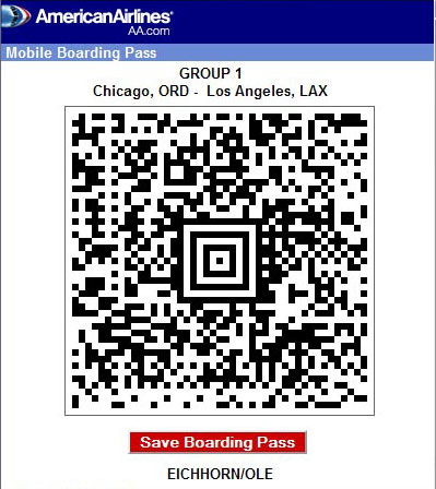 AA electronic boarding pass
