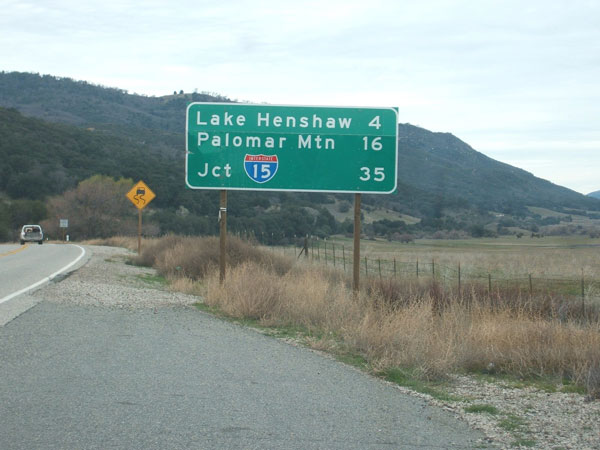 approaching Palomar from the back - because 76 will be closed