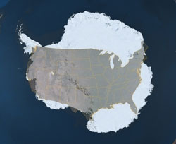Antarctica and U.S. size comparison - wow