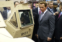 Arnold with hydrogen car