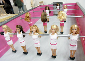 Barbie foosball table!