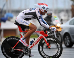 Fabian Cancellara powers to victory in the Vuelta's stage 7 30km ITT