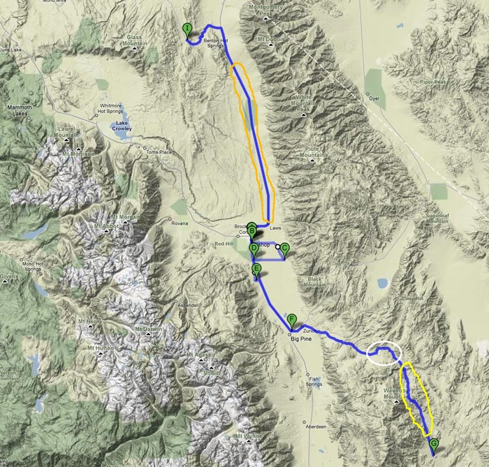 Eastern Sierra - route map