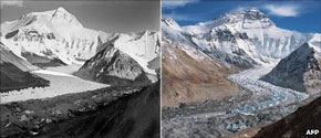 Everest losing ice... 1921 compared to 2010