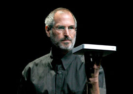 Steve Jobs with an AppleTV