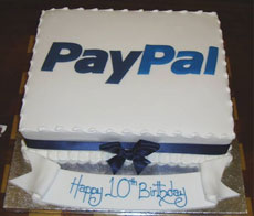PayPal's 10th birthday cake