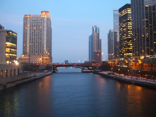 Chicago river on a December evening