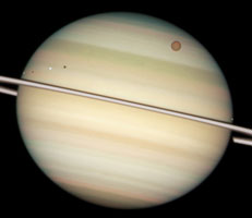 Saturn: a quadruple transit (taken by Hubble)