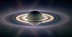 Saturn, with rings backlit... from the best photos taken by space probes