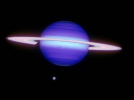 Saturn w Titan, colors indicate temperature