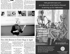 WSJ: Steve Jobs pictured alongside a skeleton in an ad. Ha ha.