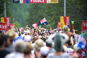 TDF stage 12 - massive crowds line the final climb to the finish