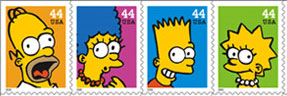 Current first class 44¢ stamps: The Simpsons!