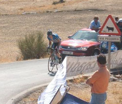 Tom Danielson wins stage 17 of the 2006 Vuelta, on the Alto de Monachil