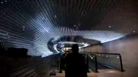 tunnel with 40,000 LEDs simulates lightspeed