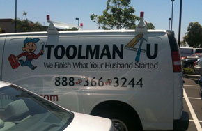"Toolman tagline: ""we finish what your husband started"""