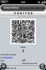 UAL's mobile boarding pass