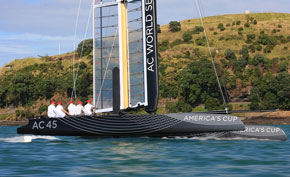 the first AC45 goes for a sail
