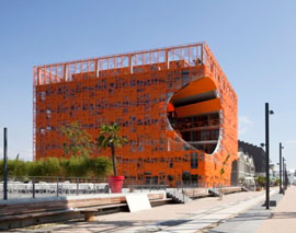 ginormous orange cube = office building!