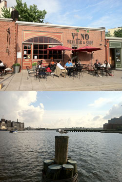 Baltimore harbor; view of the wine bar and the view from the wine bar