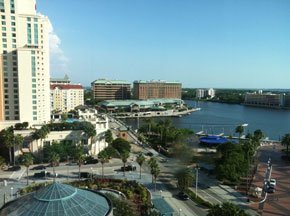 Tampa harbor downtown, with Tampa General Hospital at right