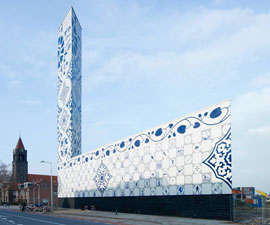 Dutch powerplant clad in Delft Blau tiles