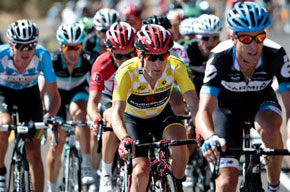 Levi Leipheimer leads the peloton in the US Pro Cycling Challenge