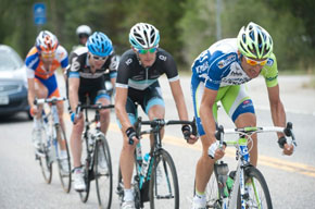 a quality break: Basso, Schleck, Peterson, and Ten Dam, but all for naught