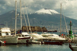Mount Vesuvius, seen from Naples Harbor