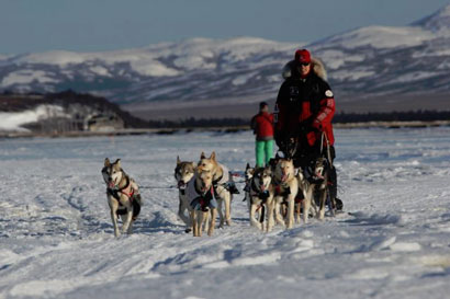 Aliy Zirkle and team come into Unalakleet