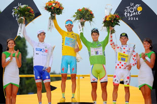 The final jerseys of the 2014 Tour; Vincenzo Nibali (yellow), Peter Sagan (green), Rafael Majka (polka dot), and Thibot Pinot (white)