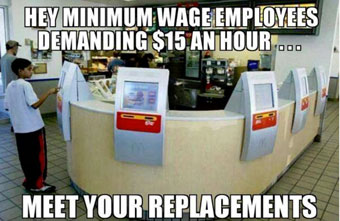 result of minimum wage: robot food service