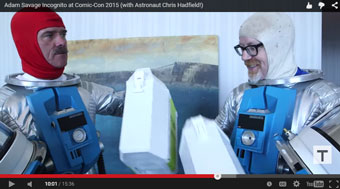 Adam Savage and Christ Hadfield as 2001 astronauts at Comic-Con