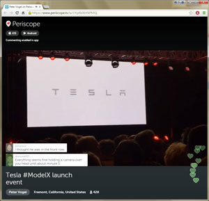Tesla ModelX announcement via Periscope