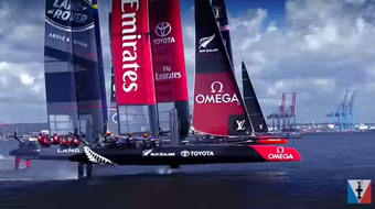 America's Cup racing - foiling cats!