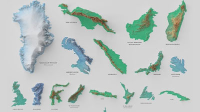 the 100 biggest islands, visualized