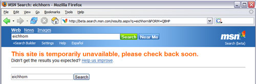 MSN search error